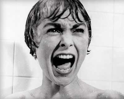 Janet Leigh is just screaming her director's initials in the famous shower scene from Psycho.