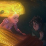 Rapunzel's hair glows and saves her in her darkest moment.