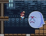 The ghosts creep up from behind but they freeze and hide in shame when Mario looks at them.