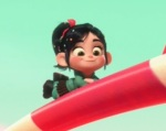 Even though Wreck-It Ralph instigates the plot, the movie is just as much about Vanellope von Schweetz.