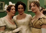Mrs. Bennet gossips to her daughters about the wealthy Mr. Bingley's even wealthier friend Mr. Darcy.