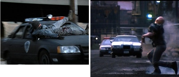A car chase is brought to a sudden halt after Clarence Boddicker kills one of his gang members.
