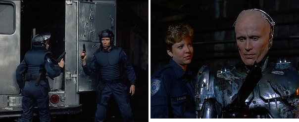 Anne Lewis and Alex Murphy-RoboCop split up to go after Clarence Boddicker's gang.
