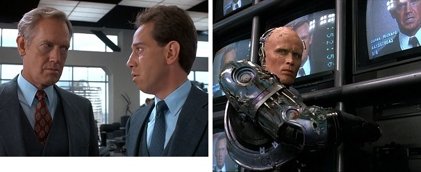 Dick Jones gives a murderous stare to Bob Morton and later gets the same from RoboCop.