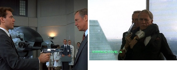 OCP Junior Executive Kenny gets brutally killed by ED-209 and OCP Executive Dick Jones gets brutally killed by RoboCop.