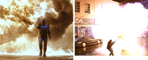 RoboCop causes a lot of property damage in the name of law and order but his enemies cause a lot of property damage in the name of chaos.