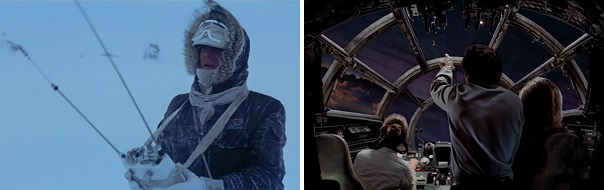 Han looks for Luke with radar and Leia looks for Luke with the Force.