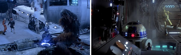 Han promises to help Chewbacca repair the Millennium Falcon.  R2-D2 actually does it.