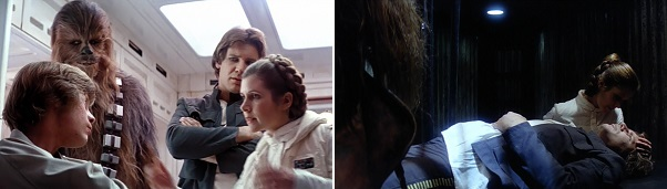 Leia comforts Luke and Han after they suffered excruciating ordeals.