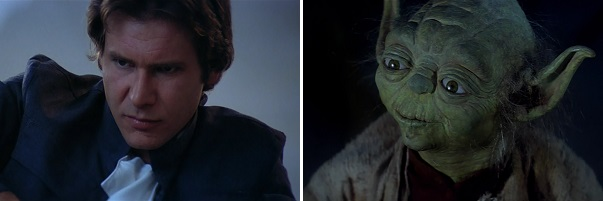 Luke bids farewell to Han and Yoda.