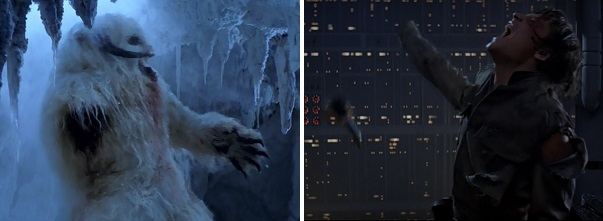 Luke cuts off a snow creature's arm and later loses his own hand.