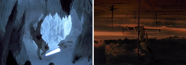 Luke hangs upside before falling to the cave floor and then he hangs upside down after falling down a large shaft.