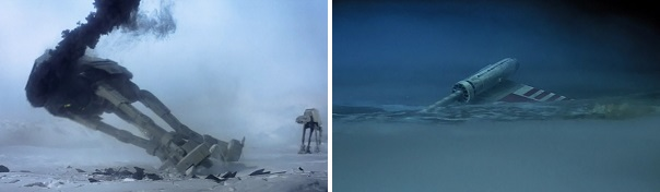Luke singlehandedly brings down an AT-AT but can't lift his X-Wing without Yoda's help.