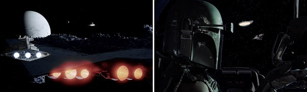 The Empire's mistake allows the Rebels to escape. The Millennium Falcon's mistake prevents them from escaping.