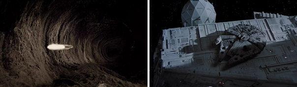The Millennium Falcon hides inside an asteroid and on the back of a Star Destroyer.