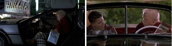 Biff steals the DeLorean and brings the Almanac to his younger self.