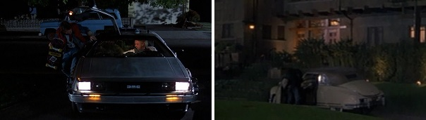 Doc drives Marty home and then Marty drives Doc home from their time-travel experiments.