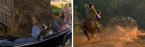 Marty avoids getting rammed into a manure truck, and Doc saves Clara from falling into a ravine.