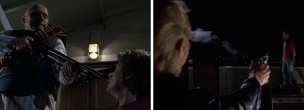 Marty barely survives being shot at in the alternate 1985.