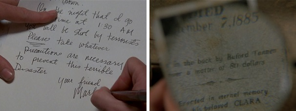 Marty warns Doc about his impending death in a letter and a photograph.