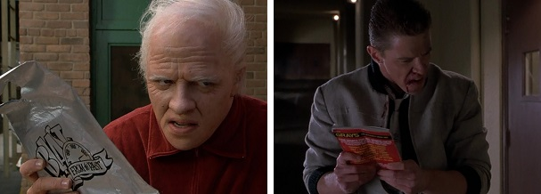 Old Biff and Young Biff take the Almanac from Marty.