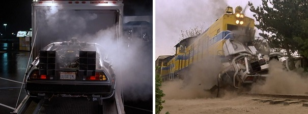 The DeLorean time machine makes its debut and spectacular demise.