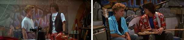 Bill and Ted begin and end the film in their garage discussing what their band is missing.