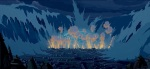 A massive explosion and tsunami destroy most of Atlantis.