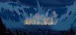 A massive explosion and tsunami destroy most of Atlantis.