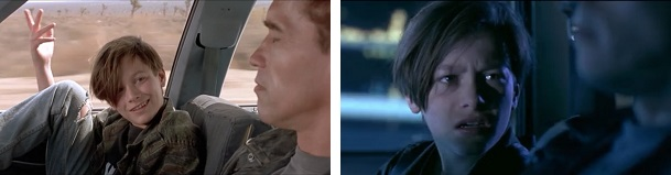 John Connor tries to help the Terminator learn and gets angry at him when he fails to learn a simple lesson.
