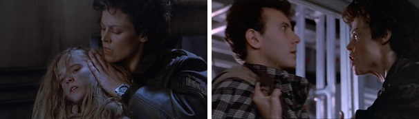 Ripley comforts Newt and angrily confronts Burke about his actions that made Newt an orphan.