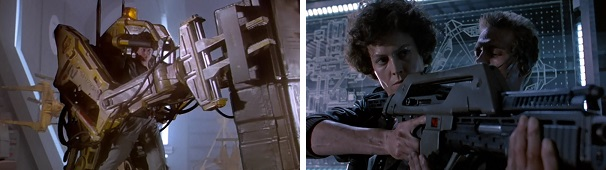 Ripley shows her skill in a power loader, and later Hicks shows her how to use a pulse rifle.
