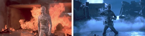 The T-1000 survives a fiery explosion and a dip in liquid nitrogen.