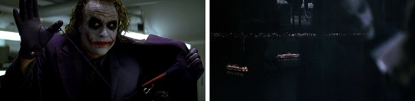 Joker threatens to blow up a roomful of Mob bosses and two boats full of civilians and criminals.