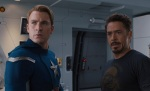 Chris Evans as Captain America chastises Tony Stark for acting just like his previous character, Johnny Storm.