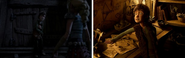 Hiccup attempts to hide Toothless and his work from Astrid and Stoick.