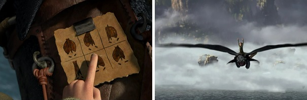Hiccup relies on a cheat sheet at the start of his test flight on Toothless, but he trusts his instincts by the end.