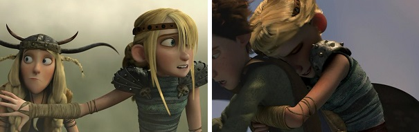 The Viking teens use teamwork against a dragon and Toothless and Hiccup use teamwork against Astrid.