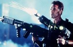 Arnold Schwarzenegger flexes his muscles and fires big guns in Eraser.