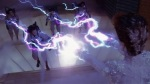 Gozer shoots the Ghostbusters with lightning bolts.