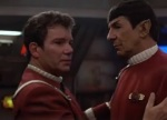 Kirk gets emotional after Spock saves his life.
