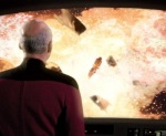 Dr. Apgar is killed in a giant explosion just as Riker is beamed off of the space station.