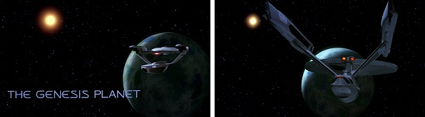 The Grissom and the Enterprise arrive at the Genesis Planet.