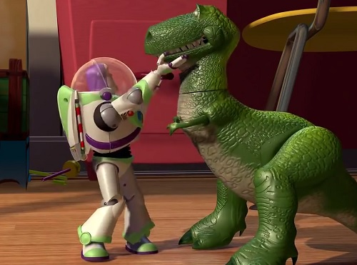 In Toy Story, Buzz gets to train Rex...