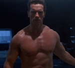 The Terminator shows up in the past completely nude.