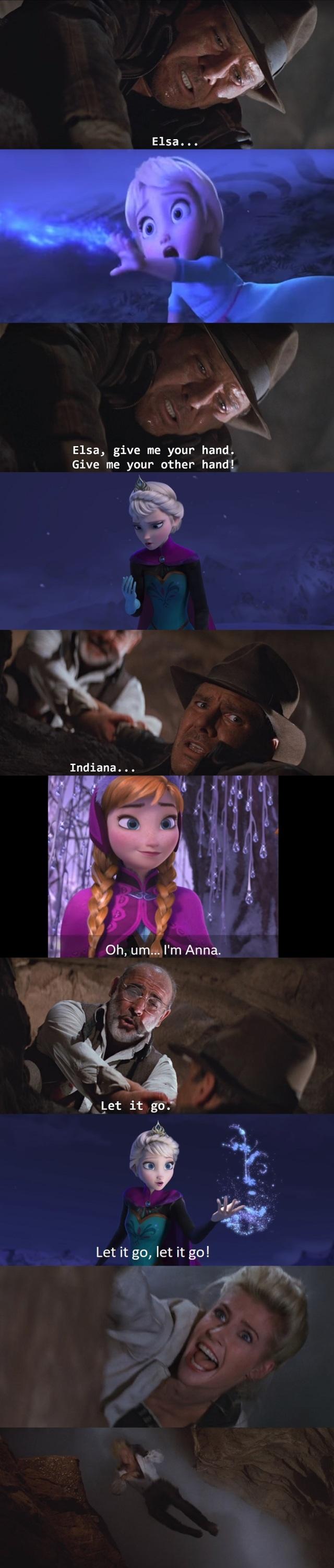 Frozen Indiana Jones Meme.