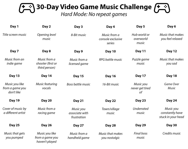 My brothers and I recently completed this fun 30-day video game music challenge.