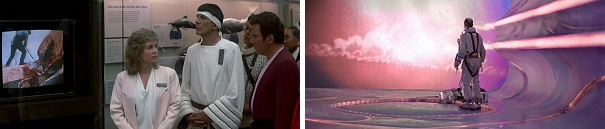 Kirk and Spock watch horrific footage of man's brutality against whales and Bud Brigman is shown horrific footage of man's brutality.